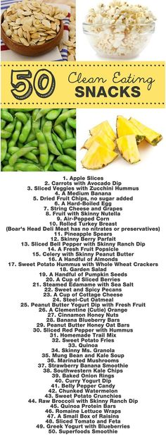 Clean Eating : 50 Clean Eating Snacks All delicious all great for you. #healthy #weightloss #fitness