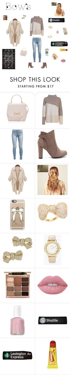 """""""City Casual Bow Outfit"""" by lilzari ❤ liked on Polyvore featuring Ted Baker, French Connection, Levi's, Hershesons, Casetify, Kate Bissett, Ciner, Chico's, Stila and Lime Crime"""