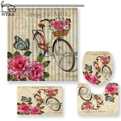 Cheap Bathroom Accessories Sets, Buy Directly from China Suppliers:NYAA 4 Pcs Vintage Background With Roses Shower Curtain Pedestal Rug Lid Toilet Cover Mat Bath Mat Set For Bathroom Decor Enjoy ✓Free Shipping Worldwide! ✓Limited Time Sale✓Easy Return. Cheap Bathroom Accessories, Bath Mat Sets, Background Vintage, Pedestal, Toilet, Home And Garden, Curtains, Rugs, Stuff To Buy