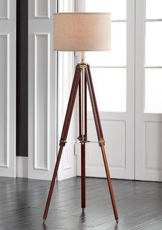 Possini Euro Cherry Finish Wood Surveyor Tripod Floor Lamp