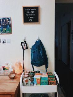 Perfect college dorm room tea or bar cart. Perfect Small D. - Perfect college dorm room tea or bar cart. Perfect Small Dorm Room or College - Bedroom Apartment, Bedroom Decor, Girls Apartment, Apartment Ideas, Bedroom Inspo, Small Dorm, Dorm Room Designs, College Dorm Rooms, College Apartments