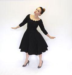 Vintage Jonny Herbert 1950s 60s Little Black Dress Cocktail Gown Mad Men Vogue Couture 50s Tea Dress Black Scalloped Lace Party Dress Medium