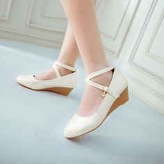 Ladies Womens Sweet Low Heels Wedge Round Toe Ankle Strap Dress Shoes Pumps New Buy Shoes, Me Too Shoes, Low Heels, Pumps Heels, Doll Shoes, Dress Shoes, Pretty Shoes, Wedding Shoes, Wedge Shoes