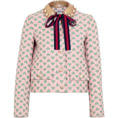 Gucci for NET-A-PORTER Leather-trimmed jacquard jacket ($2,300) ❤ liked on Polyvore featuring outerwear, jackets, tops, gucci, abrigos, neck ties, pastel pink jacket, gucci jacket, stripe jacket and embellished jacket