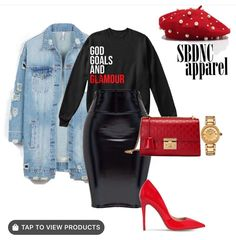 """Our Most Popular design! Featuring our """"God, Goals, and Glamour"""" sweatshirt in Black! Tap the pic to… Mode Outfits, Fall Outfits, Fashion Outfits, Womens Fashion, Fashion 2017, Fashion Ideas, Classy Outfits, Stylish Outfits, Look Fashion"""