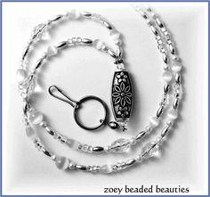 White Beaded Lanyard/ Id Badge by zoeybeadedbeauties on Etsy