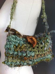 Unique crochet bag in sari silk ribbon yarn. Boho purse in rockpool shades. Sari silk bag.. $25.00, via Etsy.