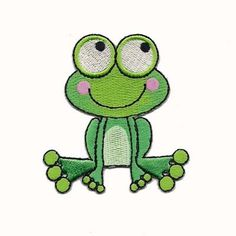 "Cute little froggy iron on children's patch with bulging cartoon eyes and little pink cheeks! Adorable Iron On Patch Applique for a centerpiece on little girls sundress or on the front of a little boys denim overalls or anything you can find to put it on!!! Make someones day by sporting this cute little guy! Measures: 2-1/2"" wide x 2 3/4"" tall $2.40"