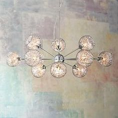 Possini Euro Wired Glass and Chrome 32-Inch-W Chandelier