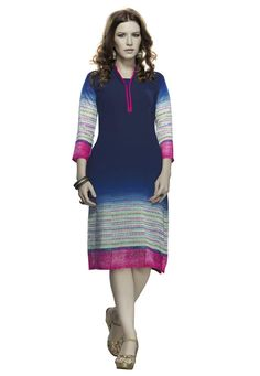 #Blue #Georgette #Kurti  #Blue #Georgette #Printed Work #Kurti.  INR:675.00  With Exclusive Discounts   Grab:http://tinyurl.com/j5nnvjt