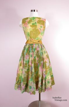 1950s Gold Floral Chiffon Cocktail Dress Size by IsabellasVintage, $225.00