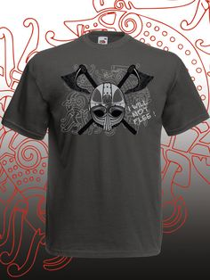 Screenprint vikings tshirt. Viking helmet and axe t shirt with inspirational quote. Norse legend or mythology. Bravery symbol gift for guys