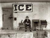 """February 1939. """"Ice for sale. Harlingen, Texas."""""""