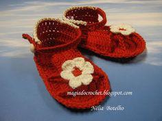 Magia do Crochet: Sandálias em crochet...continuando....