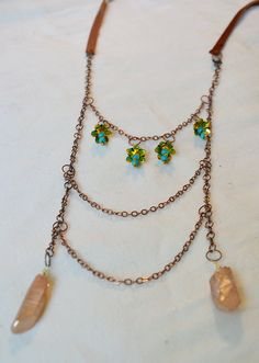 Genuine leather lace antique copper necklace by ArtandMagictoWear, €42.00