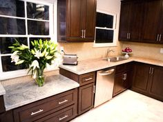 light granite, dark cabinets