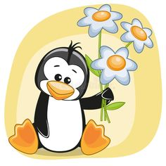 Illustration about Greeting card Penguin with flowers. Illustration of luck, childhood, child - 47315726 Cross Stitch Games, Animals And Pets, Cute Animals, Penguin Illustration, Cute Animal Clipart, Tulip Colors, Penguin Art, Colorful Rangoli Designs, Stencil Templates
