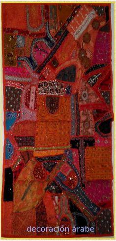 -  Tapiz de india Colllage Patchwork, Color Naranja