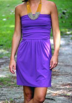 Katie Dress #LSU #gameday #strapless #purple