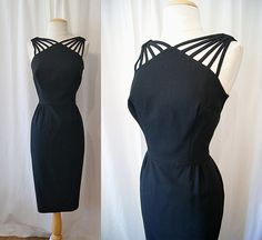 Sultry 1950's black hourglass wiggle cocktail dress by wearitagain, $198.00
