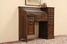 Roll Top Oak 1900 Antique Physician or Pharmacist Desk