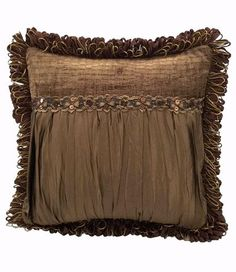 25% OFF July 8-12, 2016 Christmas in July! Caramel Silk And Croc Chenille Square Accent Pillow 18x18