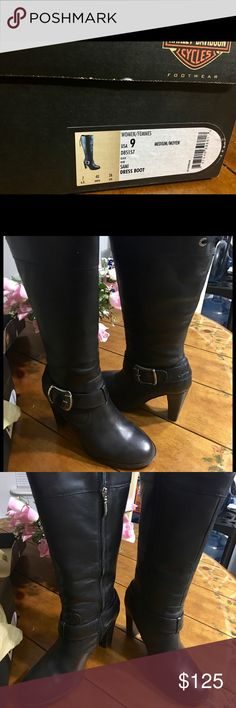"""Women's Harley Davidson Boots """"Sami"""" Dress Boot   Black Leather Man Made Sole.    Size 9   Gorgeous Boots Worn a couple of times as they are too big. Scuffing on the heels.  Minimal wear to the soles.  Harley Davidson Logo engraved on the leather at the top front of the boot. The back has eyelet with shoelaces.  Silver bucks on side.  Inner zipper.  Heel is 3.75 inches.  15.5 inches from the top of heel to the top of the boot.  Approx 15 inch opening at the top of boot.  Very sexy boot…"""