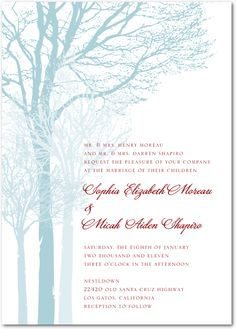 Frosty Trees - Signature White Textured Wedding Invitations in Peppermint or Pistachio | Cat Seto