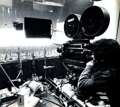Shooting the futuristic Los Angeles city-scape behind the scenes on #BladeRunner (1982).