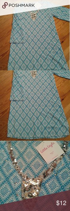 Juniors Little Layla  Sequined Print  Kaftan Little Layla  Sequined Kaftan in Turquoise.  Long sleeves with sequined trimming on sleeves & hemline.  Size 14 in childrens but measures 18in from underarm to underarm.  34in long from shoulder to hem. little Layla  Tops