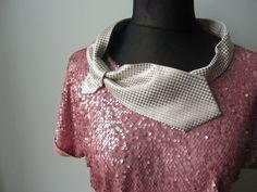 Pink Champange Sequin Top Necktie Collar by GarageCoutureClothes