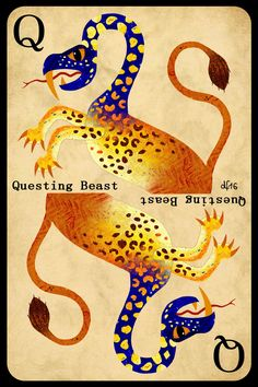 Q is for Questing Beast +++ What is BeastieBoy's secret vice? +++ illustration by Daniela Faber 2016 +++ mythology mythical creature Arthurian legendary snake leopard lion knight