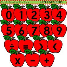 Kids will love doing math with this cute Apple Numbers set.  Get this Apple Numbers set to help kids learn their numbers and math signs.  Its also great for teaching kids to add, subtract, multiply, and divide.  It can help teach them how to compare numbers using the greater than and less than symbols.