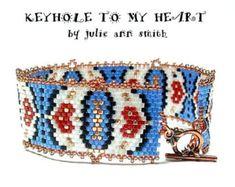 Julie Ann Smith Designs KEYHOLE to MY HEART Bracelet Odd Count Peyote Beadweaving Bracelet Pattern