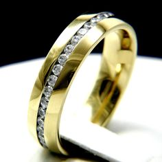 316L Clear CZ Stainless Steel Eternity Mens Wedding Anniversary Bridal Band Ring #InterStoreJewelry