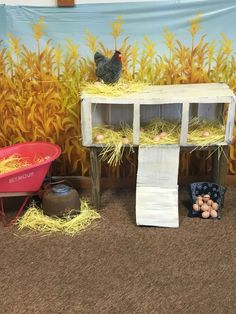 Painted material as a cool coop backdrop.You can find Farm theme and more on our website.Painted material as a cool coop backdrop. Barn Wood Crafts, Farm Crafts, Vbs Crafts, Crafts For Kids, Farm Day, Farm Activities, Preschool Farm, Farm Unit, Little Red Hen