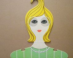 Vintage Clothing Hanger The Girlies 1967 Blonde with Glasses Clothes Hanger