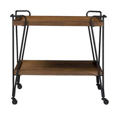 There's something cinematic and wonderful in the simple functionality of the Alera Rustic Industrial Style Antique Black Textured Finish Metal Distressed Ash Wood Mobile Serving Bar Cart. Whether used in the kitchen/laundry room or in a home office, the industrial style delivers authentic charm in ample doses. Constructed of sturdy metal frame in antiqued bronze finishing with MDF and distressed ash veneer, the Alera features two spacious shelves for your wine bottles, glasses ...
