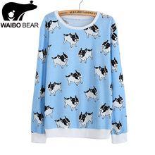 2015 outono estilo fino moda Hoodies das camisolas das mulheres pug impressão harajuku com capuz menina as mulheres agasalho mulheres moleton feminino(China (Mainland))