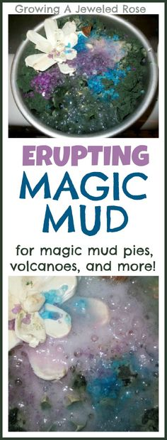 Magic Mud Recipe- fun for volcano play, dinosaur small worlds, magic mud pies, Science play and so much more! Lots of other bathtime activities on this site. Science Projects, Projects For Kids, Diy For Kids, Crafts For Kids, Science Experiments, Summer Crafts, Mad Science, Preschool Science, Science For Kids