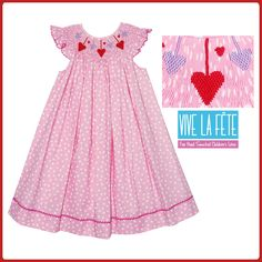 Hearts Smocked Girls Bishop Dress!