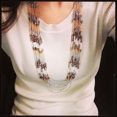 Mesa Necklace! Mixed metal and white bead layered statement necklace! www.stelladot.com/kristabutterwei