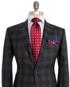 """Belvest Grey Plaid Suit 2 button jacket Notch lapel Grey melton Flap pockets Front left chest pocket Fully lined Maroon lining Double vent Flat front pant Zip fly 2 button with hook and bar close Double welt button back pockets Coin pocket 11.5"""" rise 9"""" hem opening 85% wool, 15% silk Super 150s Made in Italy"""