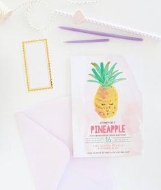 Pineapple Birthday Invitation Luau Invitation by shopBlushPaperCo