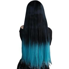 Long Straight Fashion Ombre black/blue Lady Sexy Wigs ($31) ❤ liked on Polyvore featuring beauty products, haircare, hair styling tools, hair, black haircare and black hair care