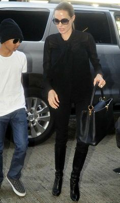 51a7fa9785d4 Angelina Jolie wearing Saint Laurent Silk Georgette Bow Blouse