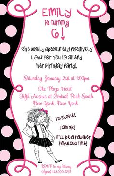 DIY PRINTABLE - Personalized Eloise Birthday Invitation $12.00