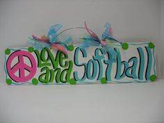 For Lucy! Softball Wall Decor by TWOPINKDOTS on Etsy, $15.00