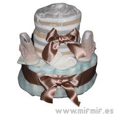 "Tarta de Pañales ""Gold Cake"" disponible en http://www.mifmif.es"