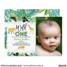 Safari Birthday Party, Animal Birthday, 1st Boy Birthday, Birthday Ideas, Disney Birthday, Birthday Parties, Happy Birthday, First Birthday Invitation Cards, Wild One Birthday Invitations